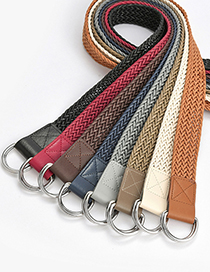 Fashion Zhangqing Double Buckle Wax Rope Braided Alloy Belt