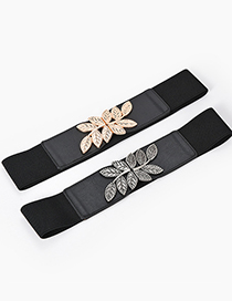 Fashion Black-gun Buckle Metal Leaf Elastic Elastic Alloy Wide Belt