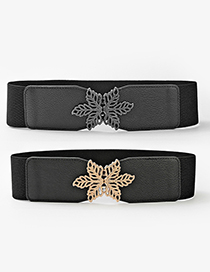 Fashion Black-gun Buckle Maple Leaf Elastic Belt