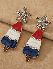 Fashion Gold Color Alloy Diamond Five-pointed Star Ice Cream Stud Earrings