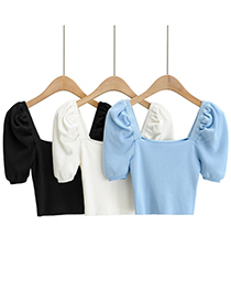 Fashion Black Puff Sleeve Square Neck Knitted T-shirt Top