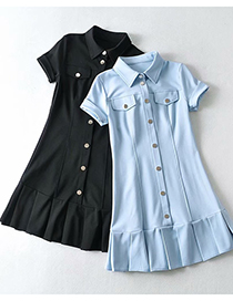 Fashion Haze Blue Solid Color Shirt Collar Single-breasted Dress