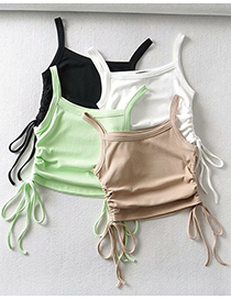 Fashion Khaki Solid Color Side Drawstring Camisole