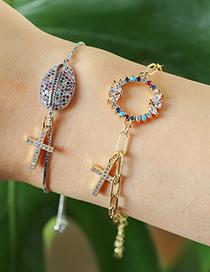 Fashion Silver Copper Inlaid Zircon Shell Cross Bracelet