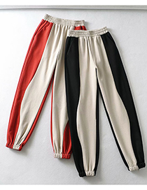 Fashion Oatmeal And Red Colorblock Loose-fitting Elastic Waist Pant