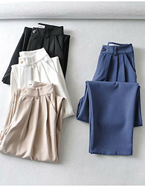 Fashion White Loose Pleated Straight-leg Trousers