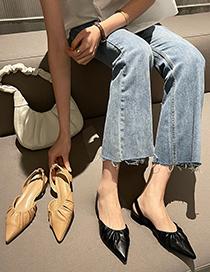 Fashion Apricot Block Heel Flat Ruffled Toe Sandals