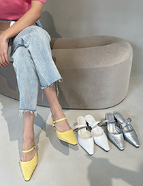 Fashion Silver Color Small Square Toe Shallow Mouth One-foot Stiletto Toe Sandals