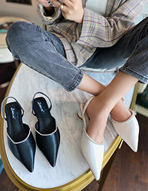 Fashion Black Rhinestone Sandals With Thick Heel And Pointed Toe Cap