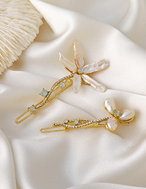 Fashion Large Pearl And Diamond Flower Alloy Geometric Hairpin