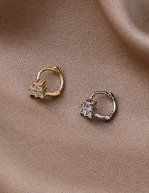 Fashion Gold (single) Micro-inlaid Zircon Heart Gold-plated Copper Earrings
