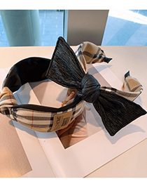 Fashion Knotted In The Middle Bowknot Wide Brim Plaid Headband