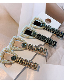 Fashion Beige Hairpin Oval Pearl Rhinestone Letter Hairpin