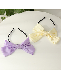 Fashion Purple Fabric Big Bow Solid Color Hair Band