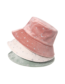 Fashion Pink Embroidered Star And Moon Velvet Fisherman Hat