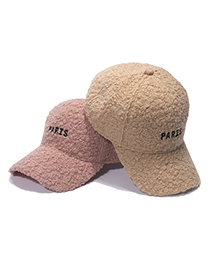 Fashion Beige Letter Embroidered Lamb Hair Cap