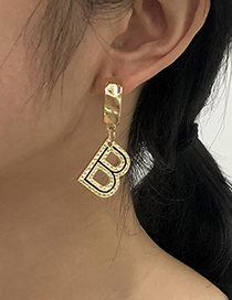 Fashion Gold Color Alloy Letter Hollow Oil Drop Earrings