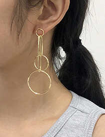 Fashion Gold Color Alloy Round Hollow Multi-layer Earrings