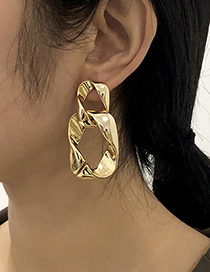 Fashion Gold Color Alloy Square Cross Hollow Stud Earrings