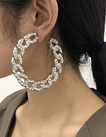 Fashion White K Alloy Diamond C-shaped Chain Earrings
