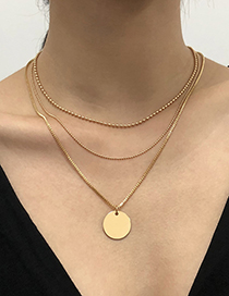 Fashion Gold Color Multilayer Necklace With Alloy Disc Pendant
