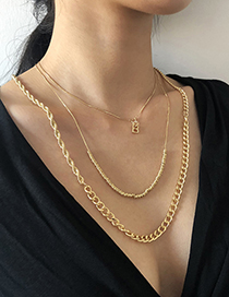 Fashion Gold Color Alloy Letter Pendant Multilayer Necklace