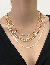 Fashion Gold Color Alloy Five-pointed Star Snake Bone Chain Multilayer Necklace