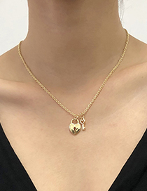 Fashion Gold Color Alloy Love Lock Necklace