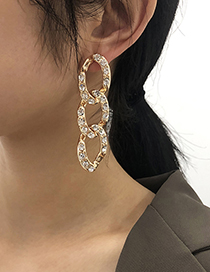 Fashion White K Alloy Diamond Geometric Thick Chain Earrings