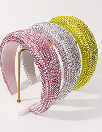 Fashion White Sponge Diamond Broad-brimmed Solid Color Hair Band