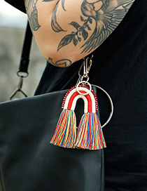 Fashion Orange Alloy Tassel Geometric Keychain