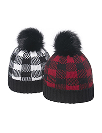Fashion Black Children S Knitted Hat With Square Lattice Curled Edge And Color Matching Wool Ball