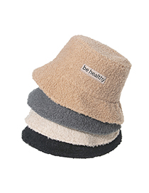 Fashion Beige Lamb Wool Letter Embroidery Fisherman Hat