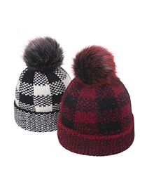 Fashion Black+red Wool Ball Check Jacquard Curled Knitted Hat
