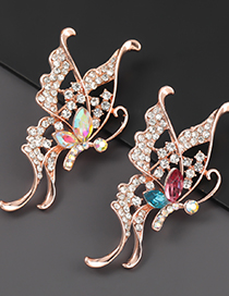 Ab Color Alloy Diamond Butterfly Hollow Brooch
