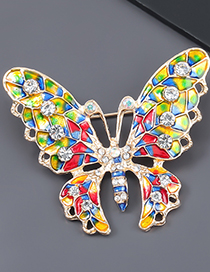 Color Alloy Dripping Diamond Butterfly Brooch
