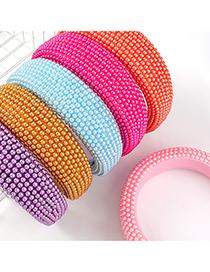 Diadema Con Cuentas De Esponja De Lado Ancho De Perlas De Imitación De Color Puro