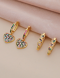 Fashion Gold Color Copper Inlaid Zircon Heart Earrings