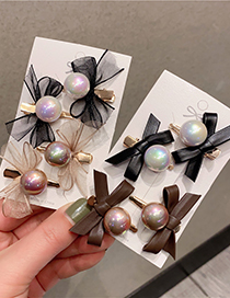 Fashion Lace Black Lace Pearl Mesh Bow Hairpin