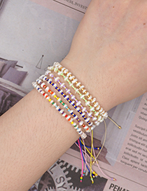 Fashion Golden Natural Freshwater Pearl Rice Bead Woven Gradient Bracelet