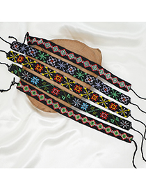 Fashion Mixed Color E Pattern Rice Beads Handmade Beaded Necklace