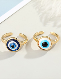 Fashion Gold Colorblue Eyes Eye Resin Alloy Open Ring