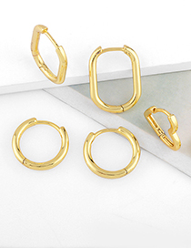 Fashion Round Glossy Love Geometric Oval Ring Gold-plated Earrings
