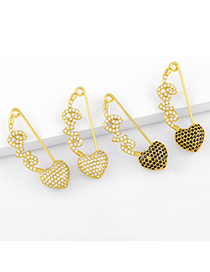 Fashion White Brooch Paperclip Letter Love Copper Gold-plated Earrings