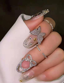 Fashion Bow Knot Butterfly Micro Inlaid Zircon Opening Adjustable Nail Ring