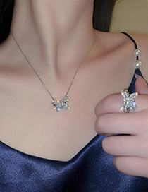Fashion Ring Bow Tie Diamond Thin Chain Alloy Necklace Ring