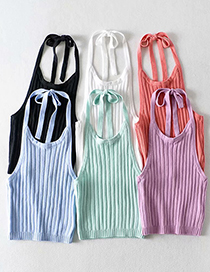 Fashion Orange Pink Halter Tie Pit Strip Knitted Sling Top
