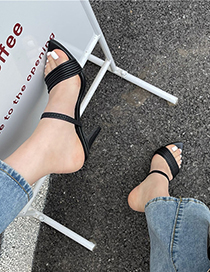 Fashion Apricot Pointed Open Toe Strappy High Heel Sandals