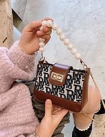 Fashion Brown Letters Letter Pearl Chain Childrens One-shoulder Messenger Bag