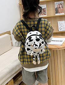 Fashion White Presbyopia Canvas Cow Print Plush Kids Backpack